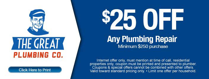 25$ off discount on plumbing repair services