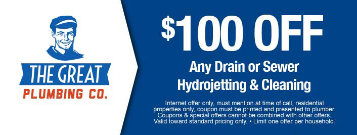 $100 off discount on drain or sewer hydrojetting and cleaning services