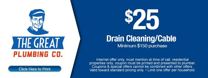 $25 discount on drain cleaning/cable services