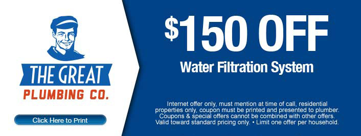 $150 off discount on water filtration system